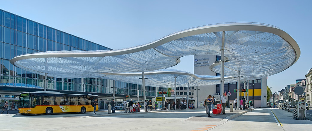 A visually dynamic ETFE design of the bus station in Aarau.