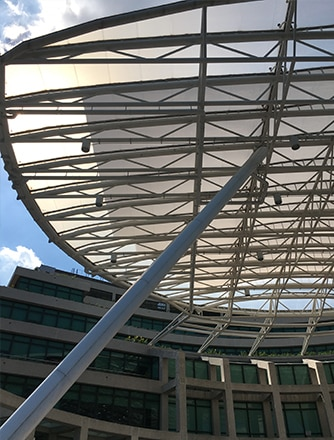 A circular- shaped Texlon ETFE canopy at the University.