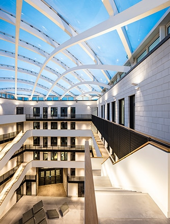 A wonderful look to the sky - through the office building's atrium.