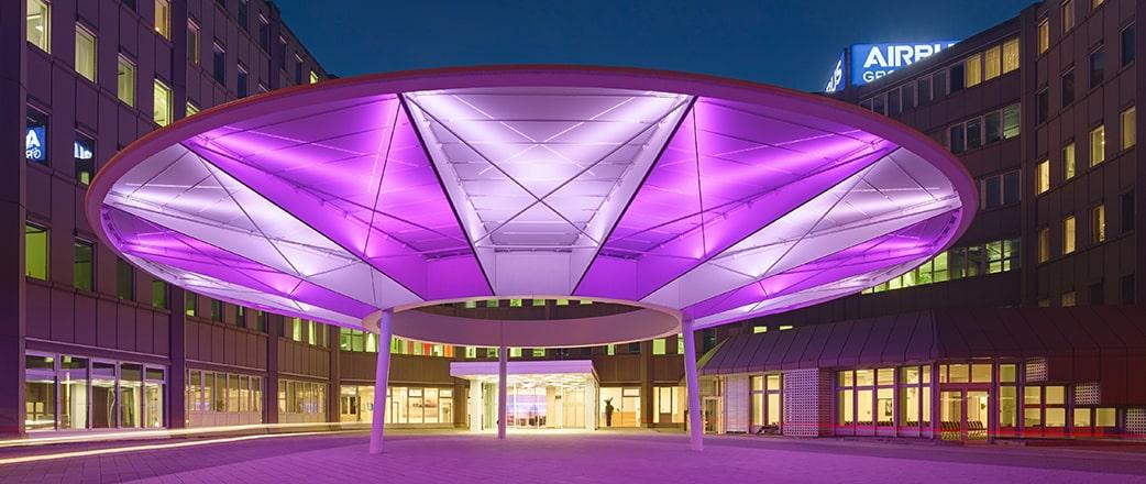Illuminated Texlon ETFE canopy at Airbus