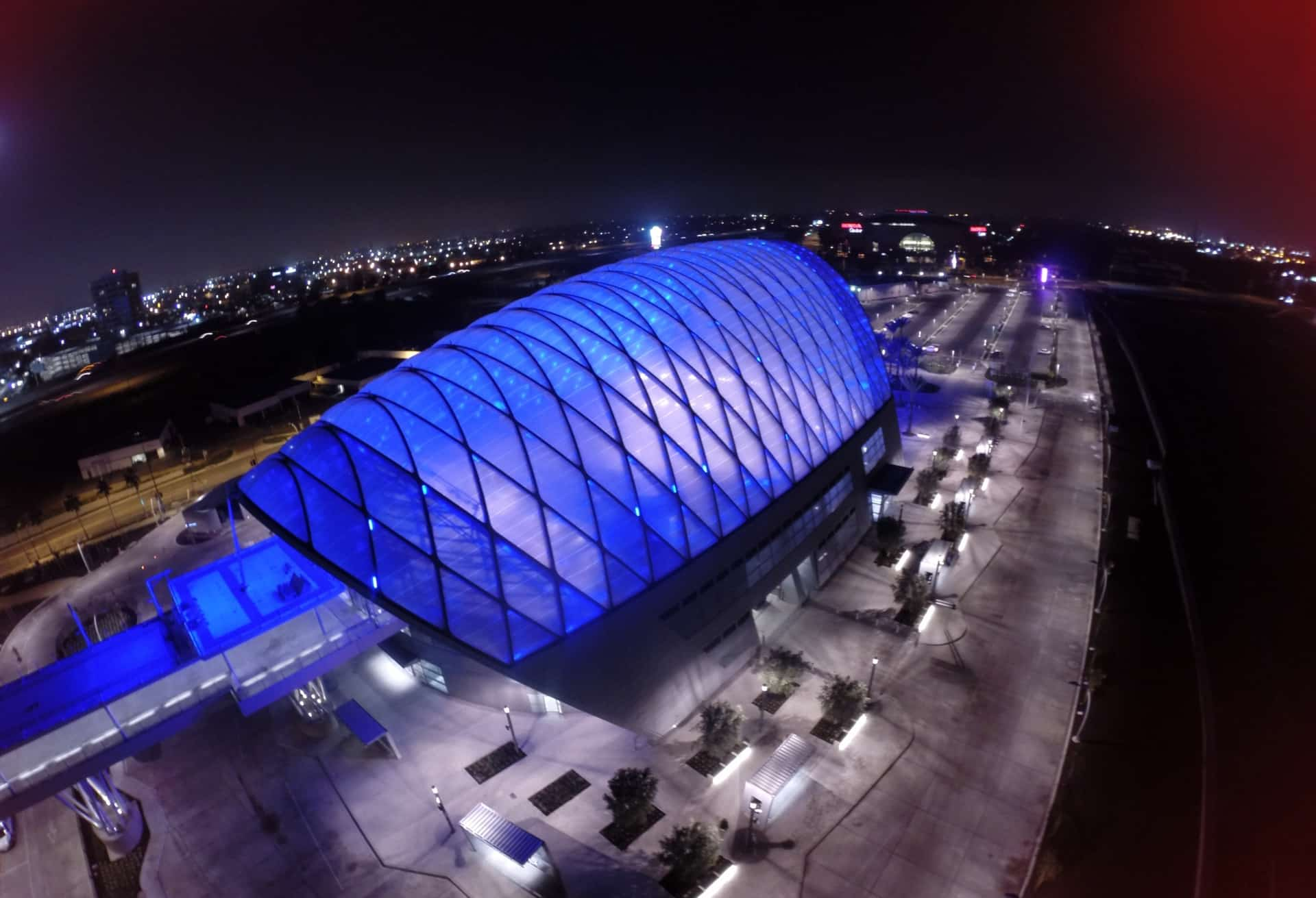 Illuminated aerial image showing the magnitude of the lightweight ETFE design