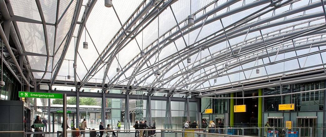 Texlon ETFE above the railway station at Heathrow airport.