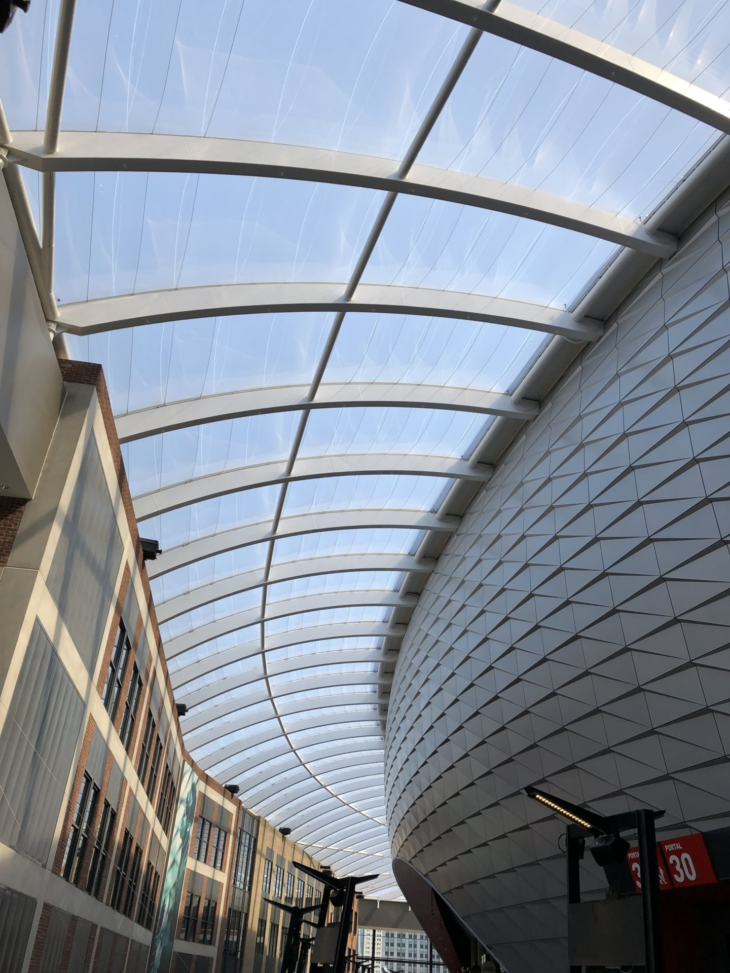 A view of the sky through the ETFE roof