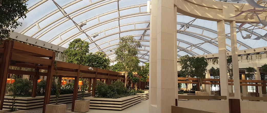 Prestige Garden district is a beautiful, light-flooded courtyard bringing the outdoors indoors thanks to the Texlon® ETFE overhead.