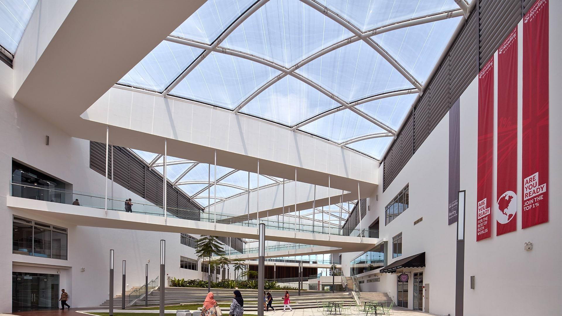 Vector Foiltec designed, fabricated and installed over 2,500 m² of Texlon® ETFE for the university's central atrium in Malaysia.