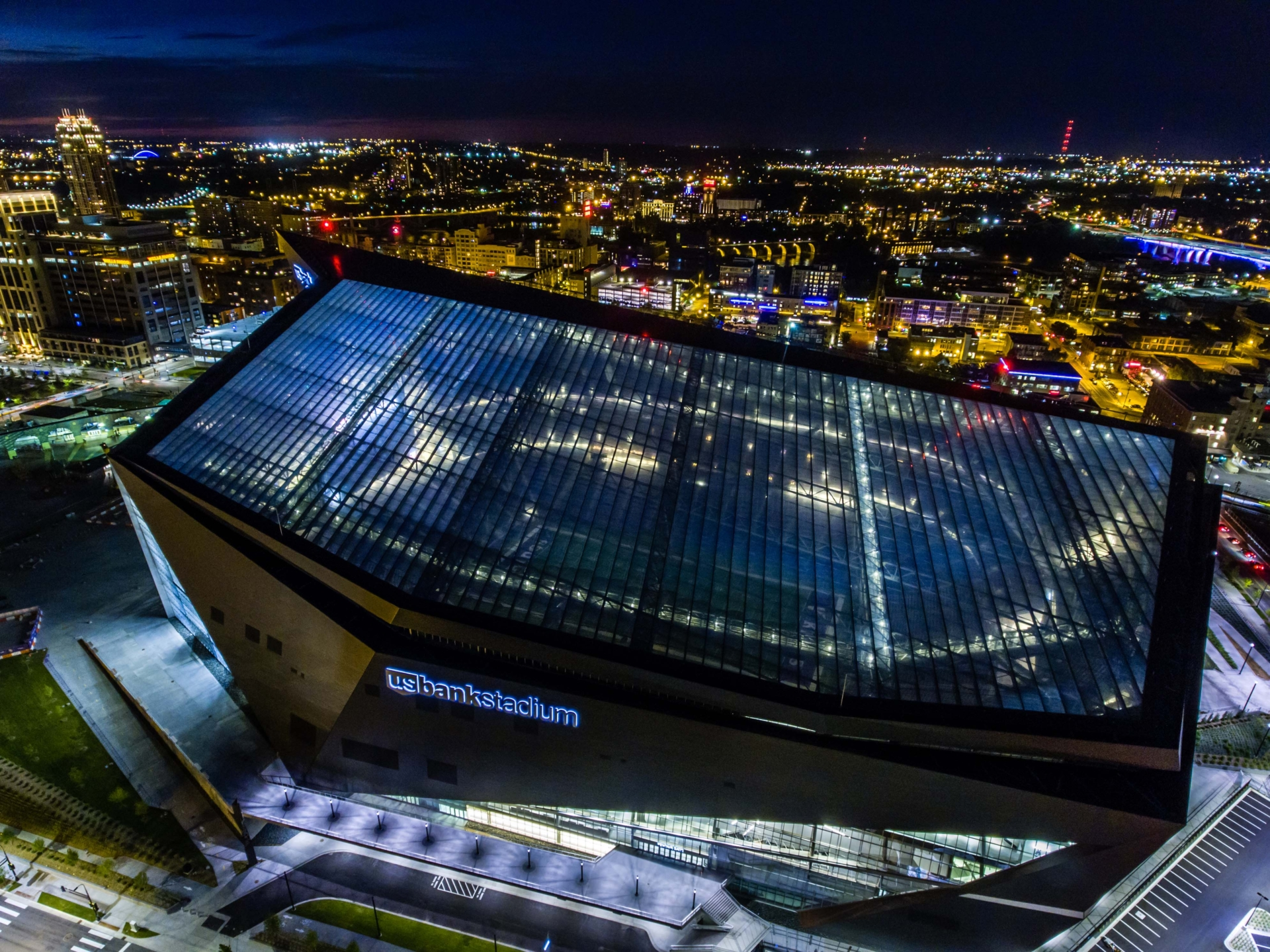 Aerial view of the roof at night