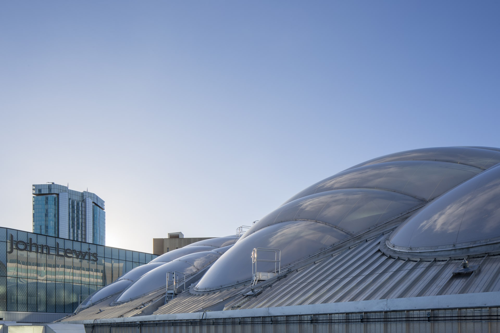 View from outside onto the ETFE atrium.