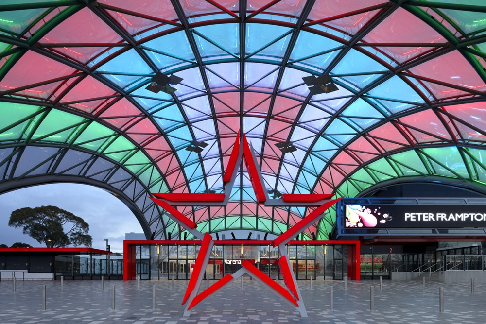 The innovative entrance to the Adelaide Entertainment Center, nicknamed The Orb, is a large dome shaped foyer, comprised of two layers of Texlon® ETFE foils.