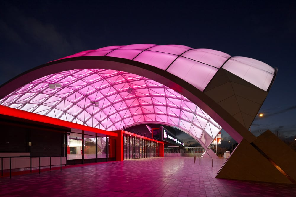 Nicknamed The Orb, the innovative entrance to the Adelaide Entertainment Center, is a large dome shaped foyer, comprised of two layers of Texlon® ETFE foils.