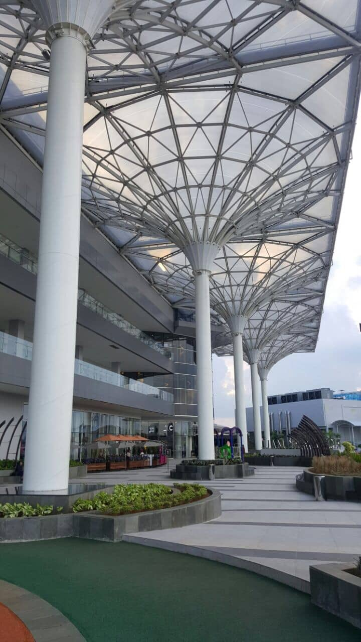 ETFE canopies at Resinda Park Mall are shaped like inverted umbrellas