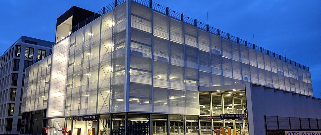 Car park in Bremen with white printed ETFE facade.