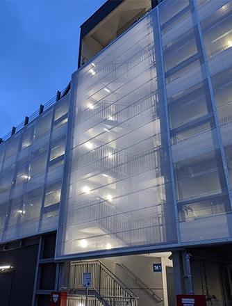 Illumination of the Texlon ETFE facade at night.