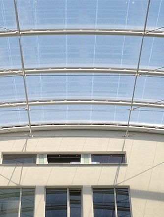 Two-layer Texlon ETFE system for an atrium at OAS office in Bremen.