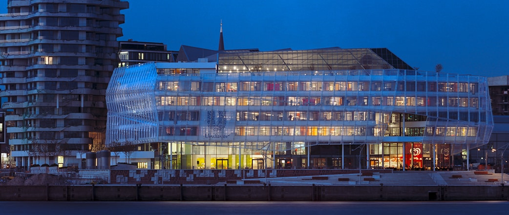 Unilever Office Building at night - front view on the innovative Texlon ETFE facade