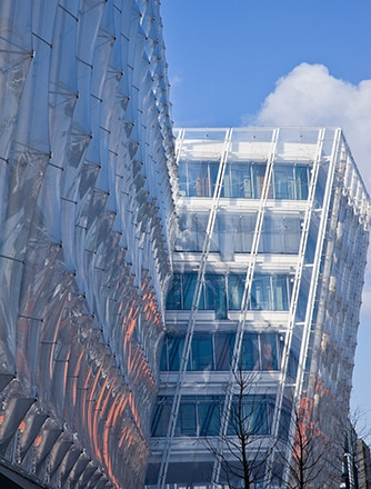 Side view of the state-of-the-art Texlon ETFE facade
