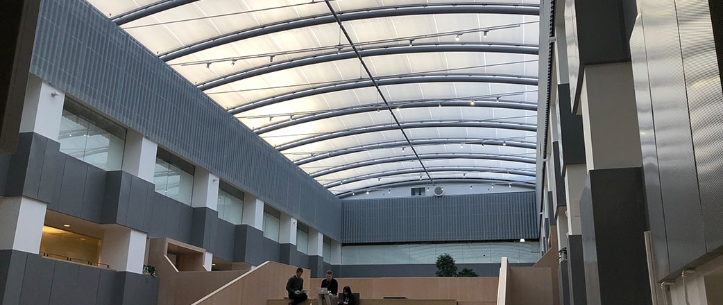 You see a light atrium where people want to spent their time. Solna business park is a great example for renovation projects.