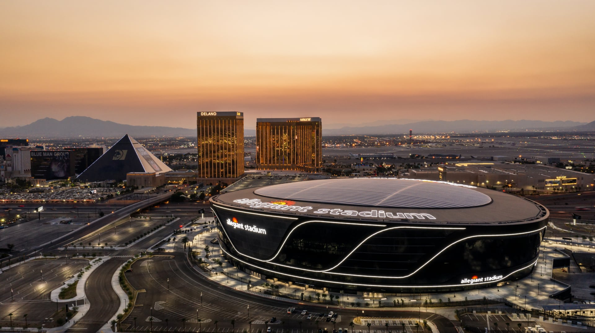 Vegas sunset and an aerial of the transparent ETFE roof expertly designed for the Las Vegas Raiders.