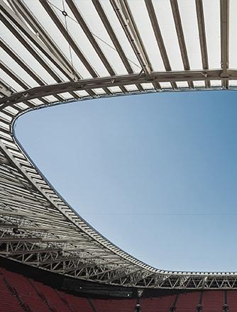 Fertiggestelltes Stadion nach der zweiten Phase.