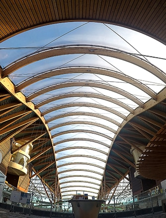 The Texlon® ETFE system is supported by an elegant, curved timber frame structure.