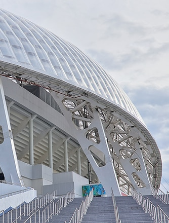 The translucent foils allow light into the stadium while the more opaque foil disperses direct sunlight providing comfort for the spectators.