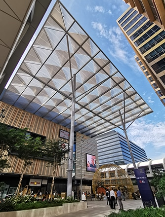 For the Paya Lebar Quarter, Vector Foiltec delivered a total solution project that included the design, engineering, steelwork, our Texlon® ETFE, a Fall Arrest System and Authority Submissions to BCA and MRT.