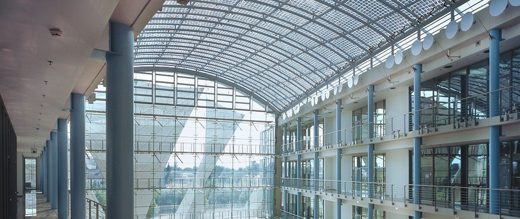 Festo is a technology industry leader, three atria in Esslingen are covered with Vector Foiltec's state-of-the-art Texlon® ETFE variable shading system.