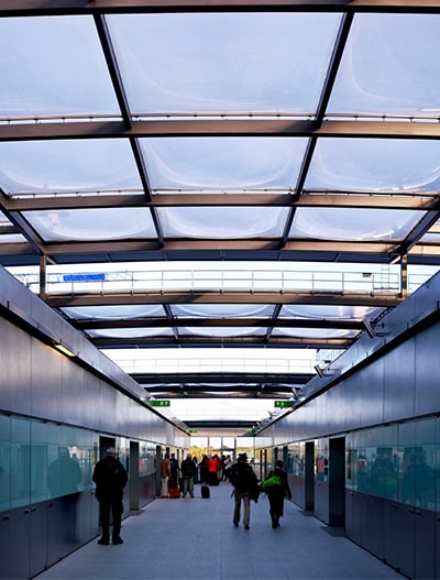 We installed the Texlon® ETFE technology to the roof canopy structure of the North Terminal Interchange (NTI) train station in Gatwick.