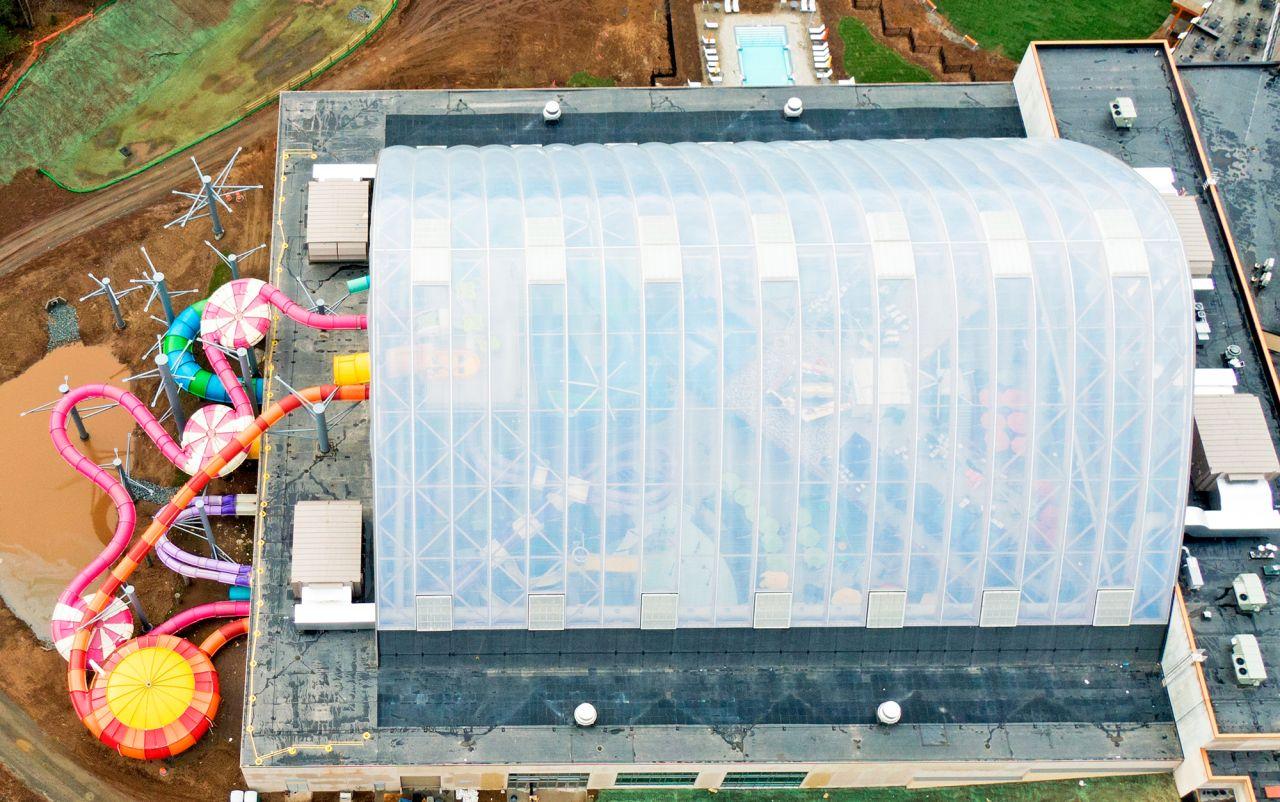 Draufsicht auf das transparente Texlon ETFE-Dachgehäuse.