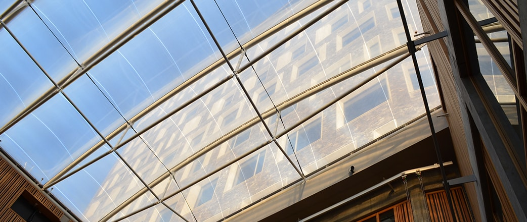Tyfonen Studio, located in Malmö, Sweden, is a multi-purpose building with a 450 m², 4-layered Texlon® ETFE atrium roof.