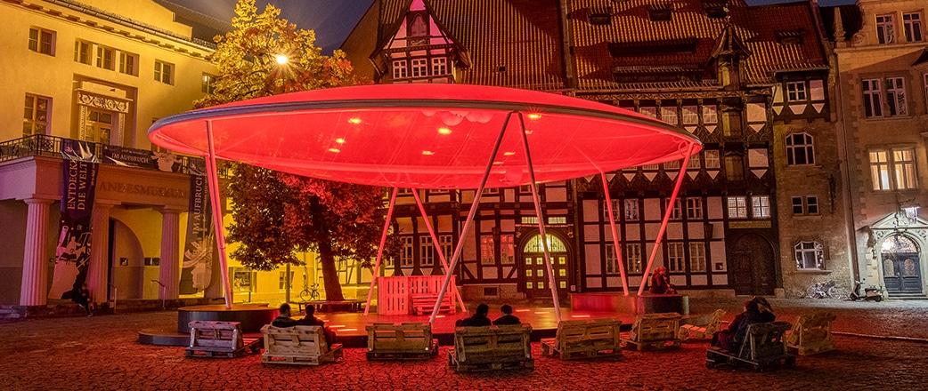 Impressive illumination of the canopy at night.