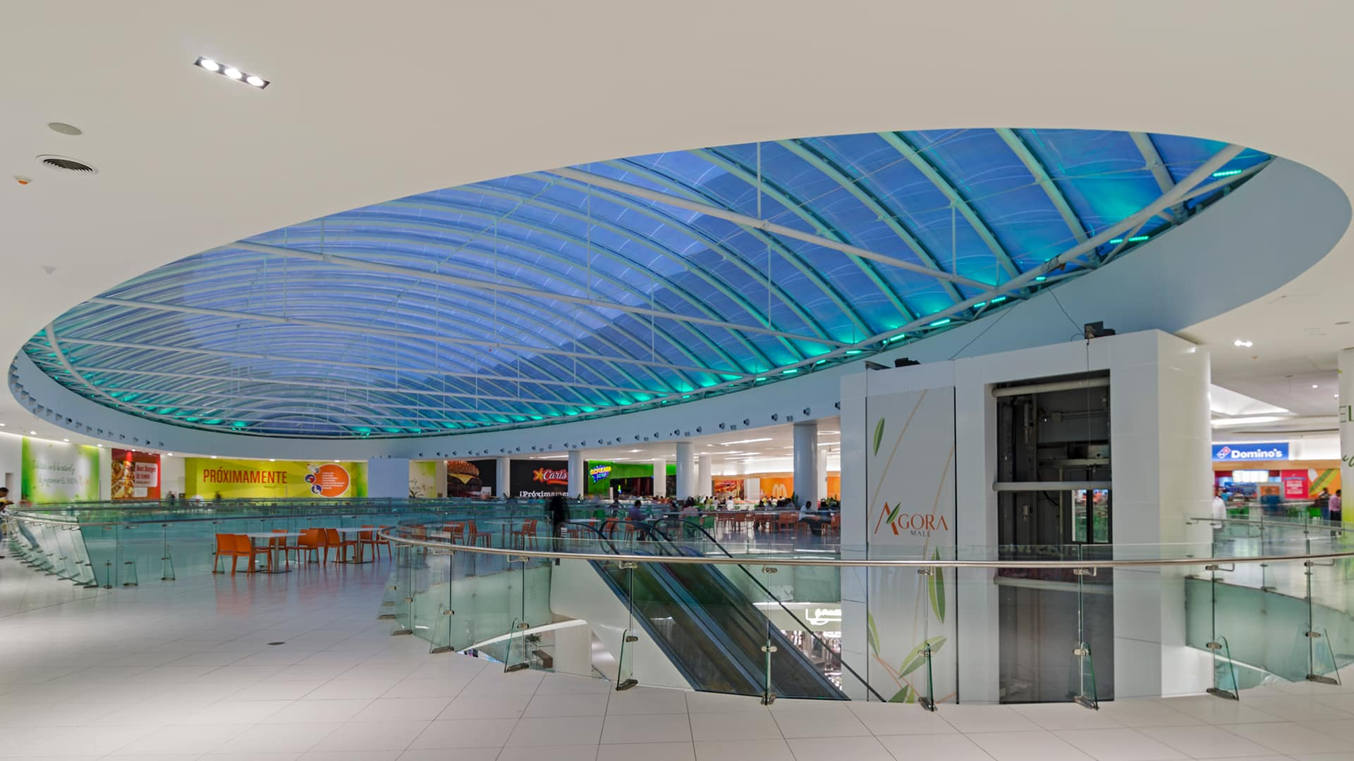 The  light-filled Agora Mall includes a huge Texlon® ETFE dome roof and three other smaller ETFE skylights for a great shopping experience.