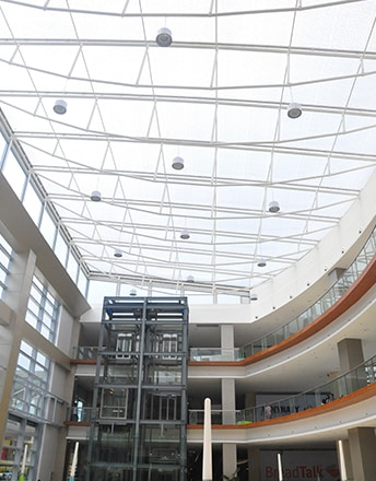 The main atria if KCC Mall is covered by a printed Texlon® ETFE cladding system and lets daylight come in.